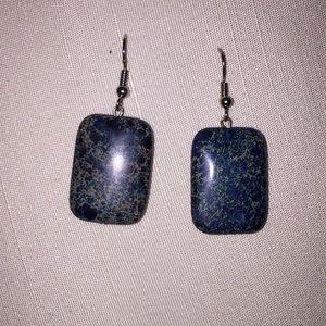 Rectangle stone tan/blue/green earrings